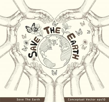 Handen Save The Earth Conceptuele vector illustratie
