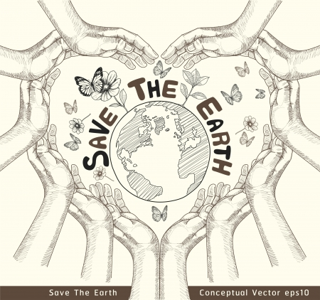 save the planet: Hands Save The Earth Conceptual  vector illustration  Illustration