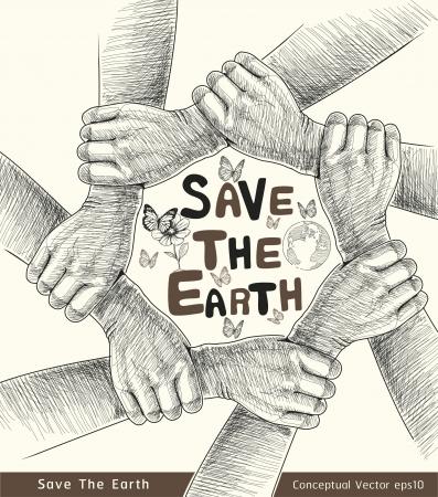 Handen Save The Earth Conceptuele vector illustratie Vector Illustratie