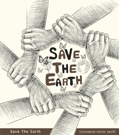 save earth: Hands Save The Earth Conceptual  vector illustration  Illustration