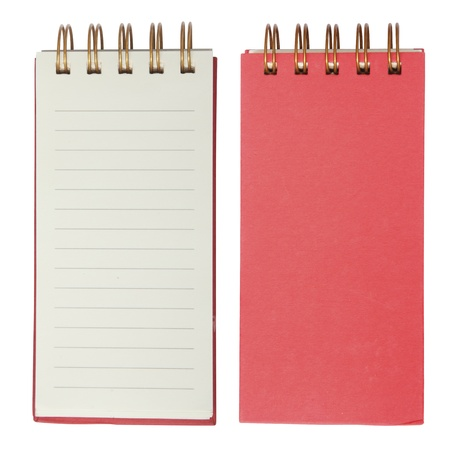 Red Lined notebook isolated on white  photo
