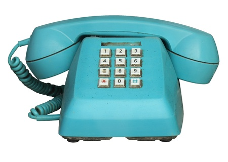 telephone: Tel�fono Azul viejo aislado en blanco Foto de archivo