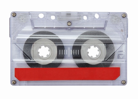 stereo cut: Old Cassette tape isolated on white  Stock Photo