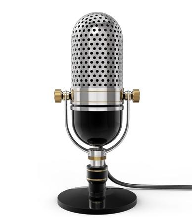 radio retr�: 3d Retro microfono (vista frontale). isolato su bianco Archivio Fotografico