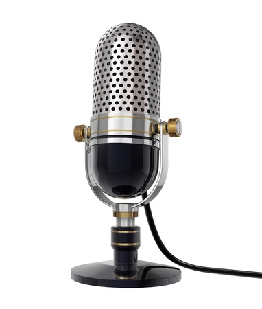 radio station: 3d Retro microphone (side view). isolated on white Stock Photo