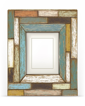 grunge border: Old color wooden frame illustration  Illustration