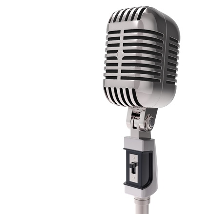 old microphone: 3d Retro microphone. isolated on white  Stock Photo