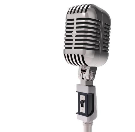 microfono antiguo: Micr�fono retro 3d. aislado en blanco