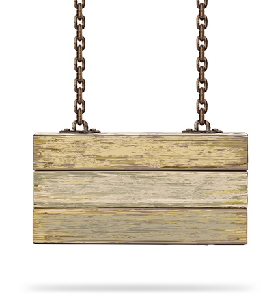 hanging sign: Old color wooden board with rusty chain   illustration