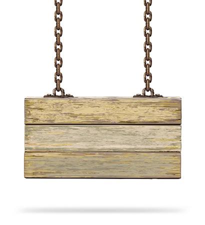 letreros: Tarjeta de color de madera vieja con la ilustraci�n de la cadena oxidada