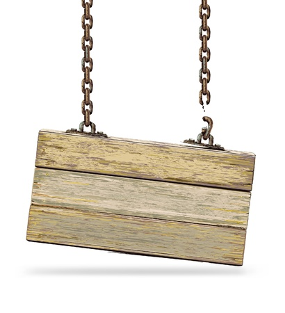 Old color wooden board with broken chain