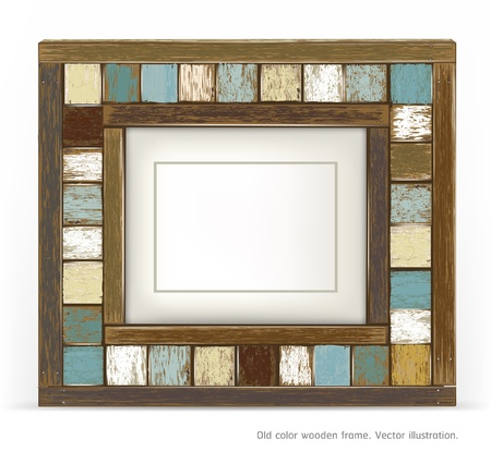 Old color wooden frame Vector