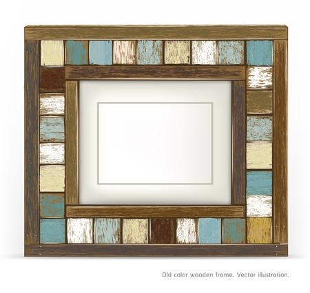 old picture frame: Old color wooden frame Illustration