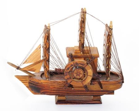 Boat wood musical box on white background. photo