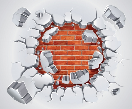 hole in wall: Old Plaster and Red brick wall damage  illustration Illustration