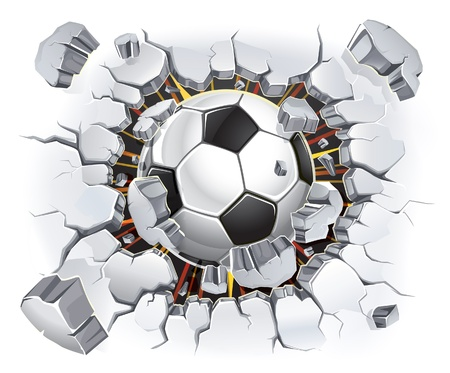 pelota de futbol: Bal�n de f�tbol y la ilustraci�n antigua pared de yeso da�os Vectores