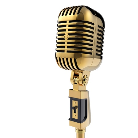 retro styled: 3d Retro microphone  isolated on white