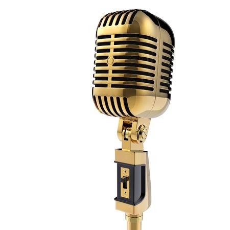 microfono de radio: Micrófono retro 3d aislado en blanco Foto de archivo