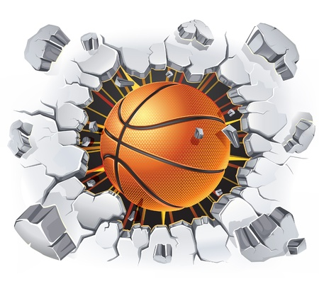 sport balls: Basketball and Old Plaster wall damage   illustration Illustration