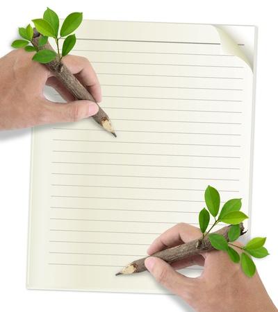residuos organicos: Dos Hombres dibujo a mano en papel