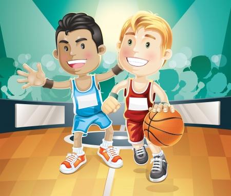 amigo: Ni�os que juegan a baloncesto en personaje de dibujos animados ilustraci�n indoor tribunal Vectores
