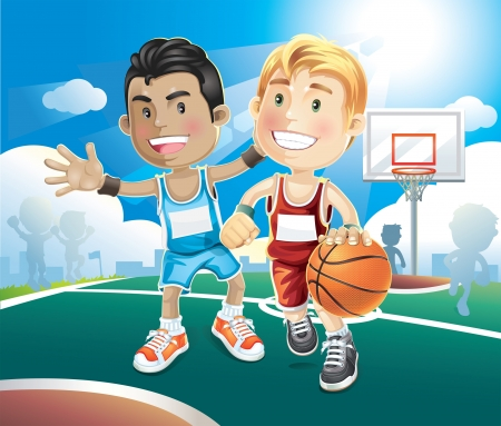 child sport: Kids playing basketball on outdoor court   illustration cartoon character