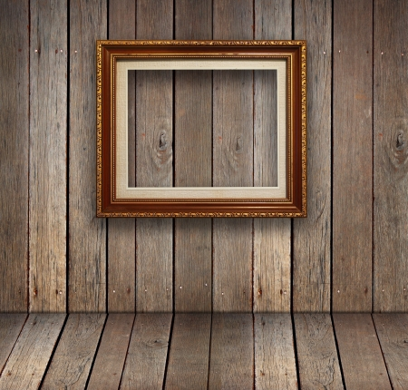 timber frame: Old wood room with gold frame background  Stock Photo