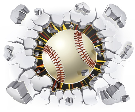 baseballs: Baseball and Old Plaster wall damage  illustration