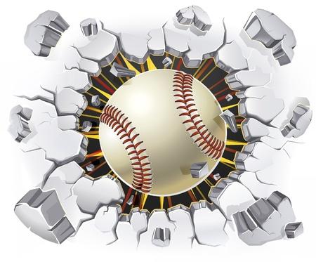 Honkbal en oude pleister muur schade illustratie Vector Illustratie