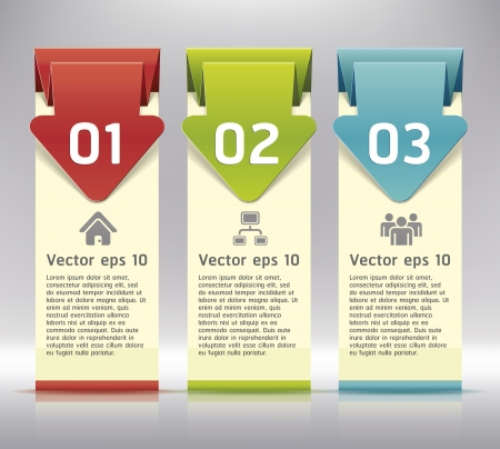Colorful Origami Style Number Options Banner   Illustration
