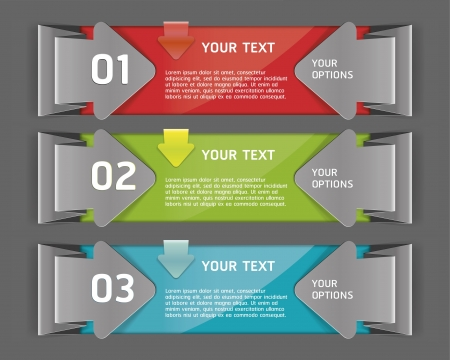 web layout: Colorful Origami Style Number Options Banner   Illustration