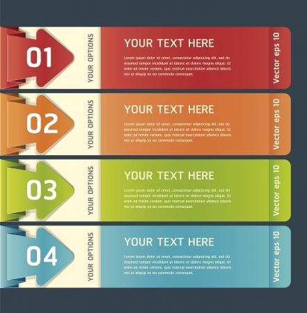 주형: 다채로운 종이 접기 스타일 번호 옵션 배너 일러스트