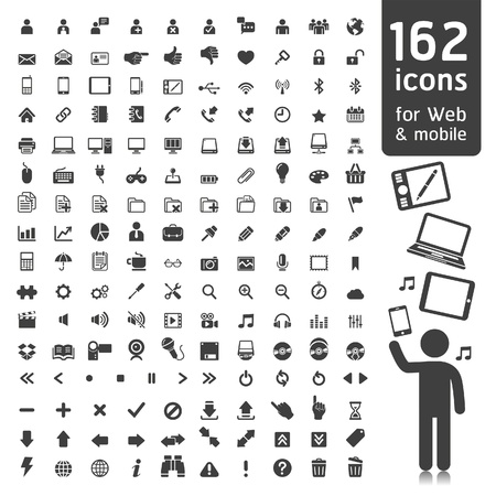 162 Icons for Web, Applications and Tablet Mobile. Stock Vector - 15280807