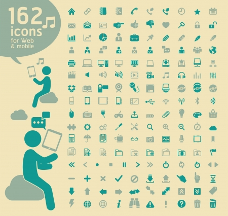 interface buttons: 162 Retro color Icons for Web, Applications and Tablet Mobile.