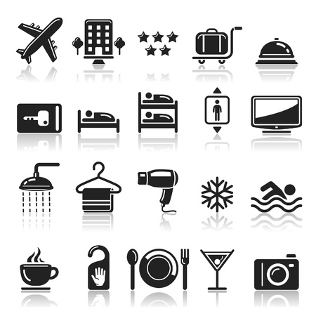 resorts: Hotel icons set