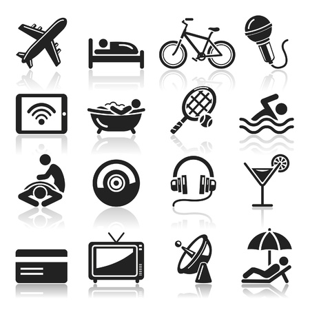headphones icon: Hotel icons set