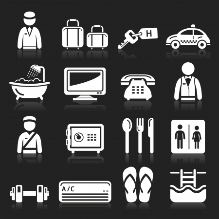 bathtub: Hotel icons set