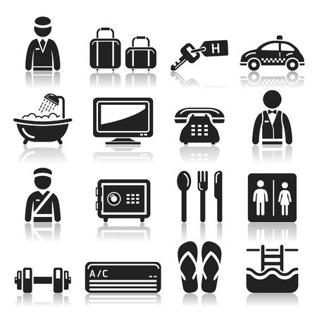 accommodations: Hotel icons set
