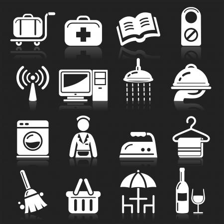 hospedaje: Iconos del hotel fijados Vectores