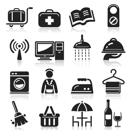 the maid: Hotel icons set