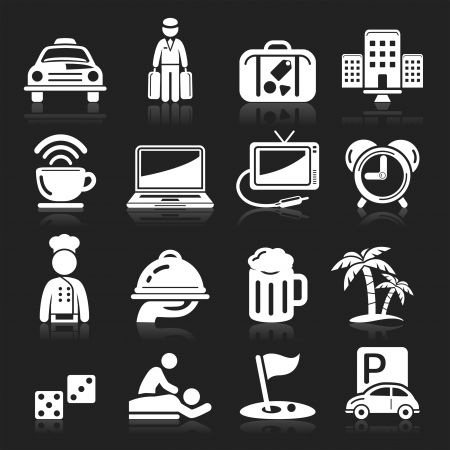 transportation icons: Hotel icons set