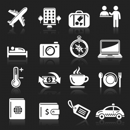 hotel bed: travel icons set Illustration