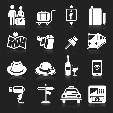 suitcases: Travel icons set