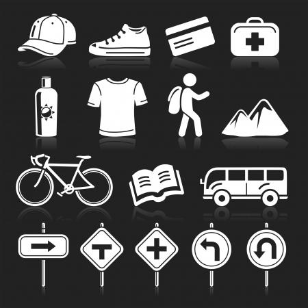 u turn sign: Travel icons set