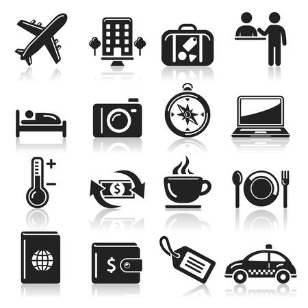 viajes: Iconos de recorrido fijados Vectores