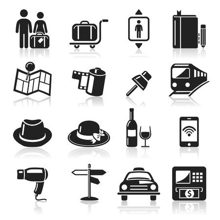 taxi: Los iconos de viajes a configurar Vectores