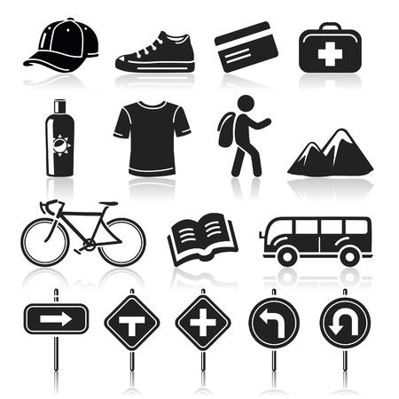 mochila viaje: Iconos Set Viaje Vectores