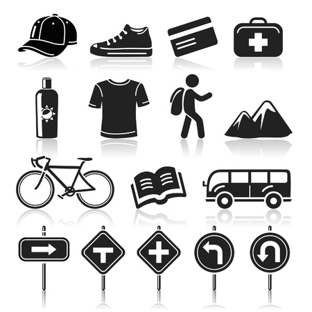 backpackers: Travel icons set