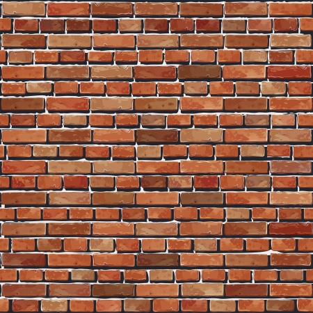 brickwall: Old Red ladrillo pared del fondo ilustraci�n incons�til - modelo de la textura para replicar continua Vectores