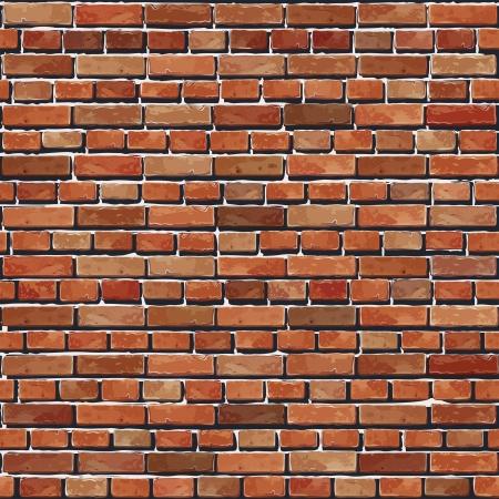 muro: Old Red muro di mattoni senza soluzione di continuit� sfondo illustrazione - pattern trama per la replica continua Vettoriali